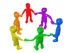 Diverse Circle Of Colorful People Holding Hands, Symbolizing Teamwork, Friendship, Support And Unity Clipart Illustration Graphic