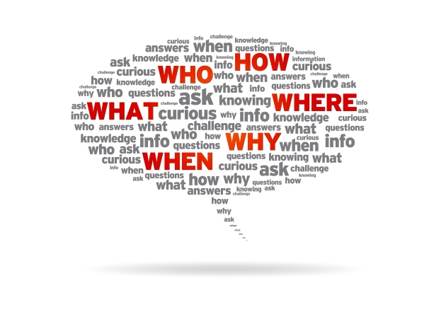 Speech Bubble - How, Who, What, Where, Why, When