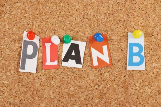 Plan B on a cork notice board