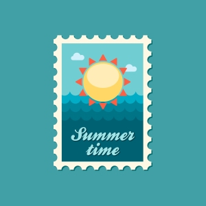 Sun flat stamp, vector illustration eps 10